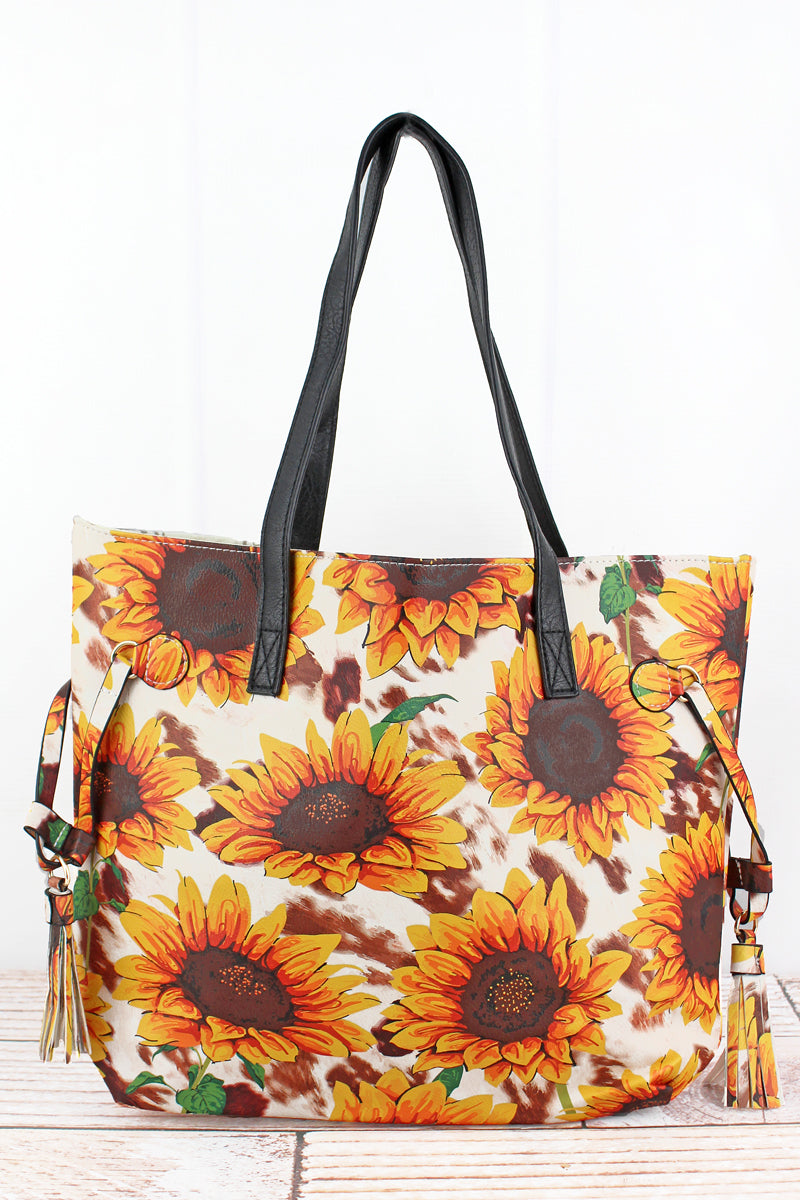 NGIL Sunflower Farm Faux Leather Side Tassel Tote