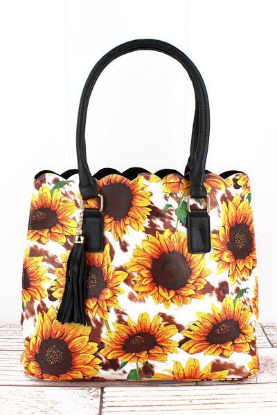 NGIL Sunflower Farm Faux Leather Scalloped Tote