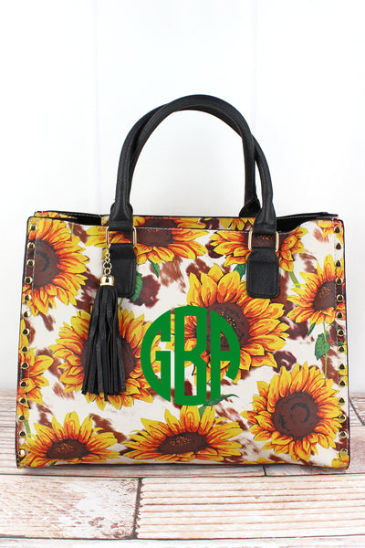 NGIL Sunflower Farm Faux Leather Studded 2-in-1 Tassel Tote