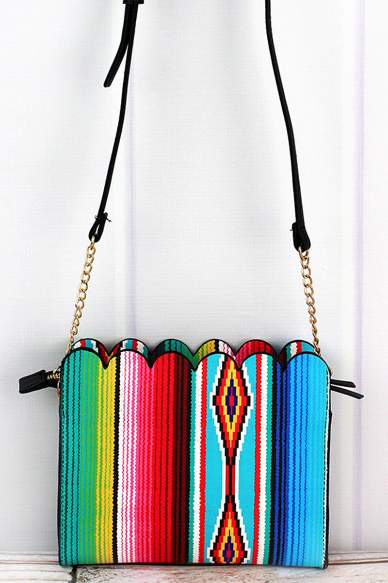 NGIL Southwest Serape Faux Leather Scalloped Crossbody Clutch