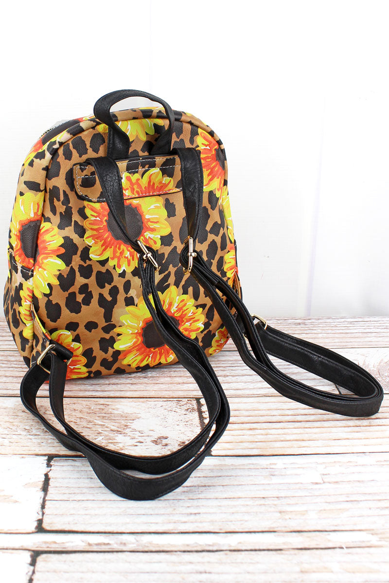 NGIL Sunflower Leopard Faux Leather Small Backpack