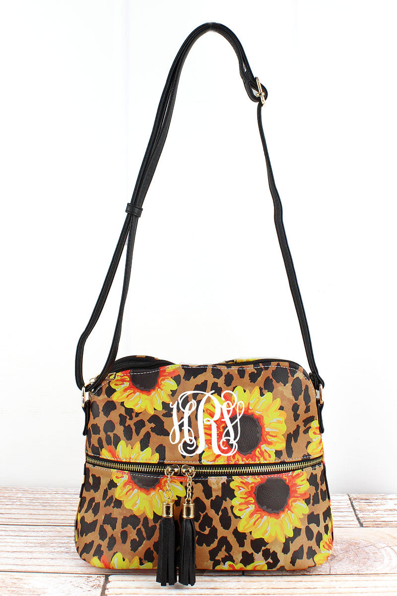 NGIL Sunflower Leopard Faux Leather Crossbody Tassel Tote
