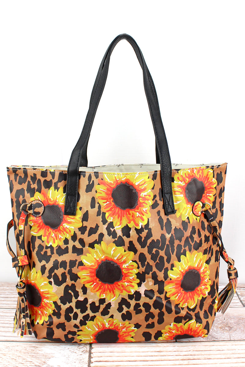 NGIL Sunflower Leopard Faux Leather Side Tassel Tote