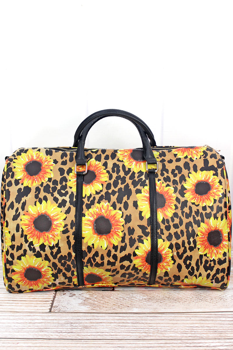 NGIL Sunflower Leopard Faux Leather Fringe Weekender Duffle Bag