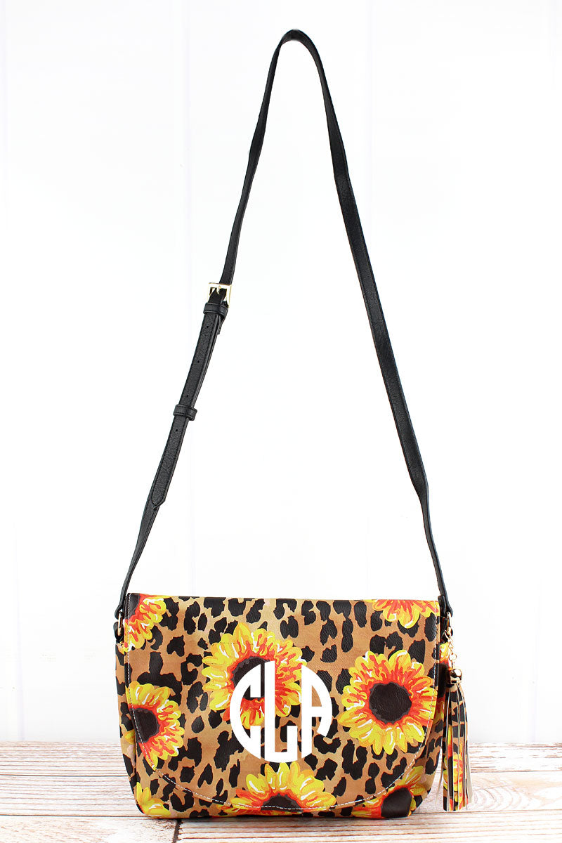 NGIL Sunflower Leopard Faux Leather Tassel Envelope Crossbody