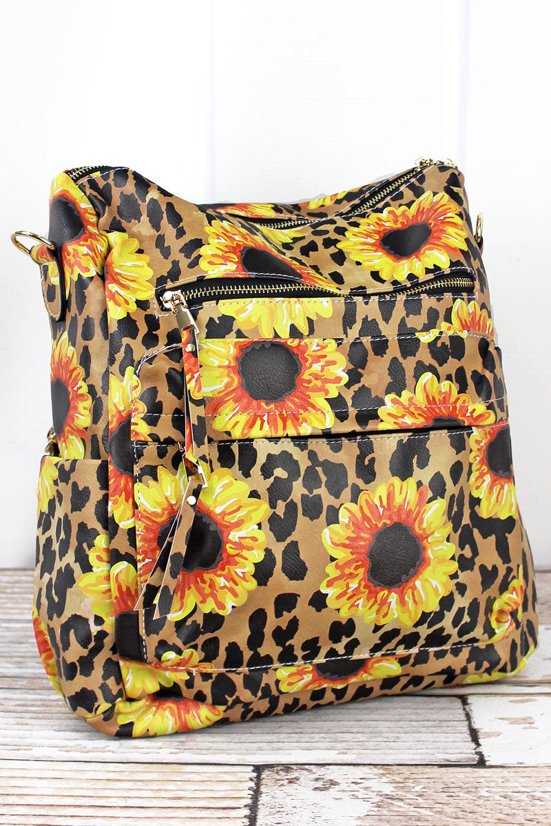NGIL Sunflower Leopard Faux Leather Backpack Tote