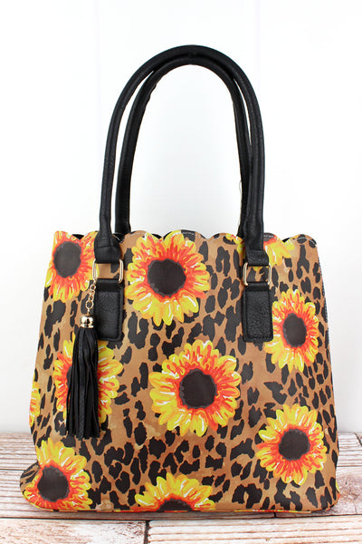 NGIL Sunflower Leopard Faux Leather Scalloped Tote