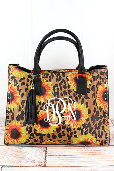 NGIL Sunflower Leopard Faux Leather Studded 2-in-1 Tassel Tote