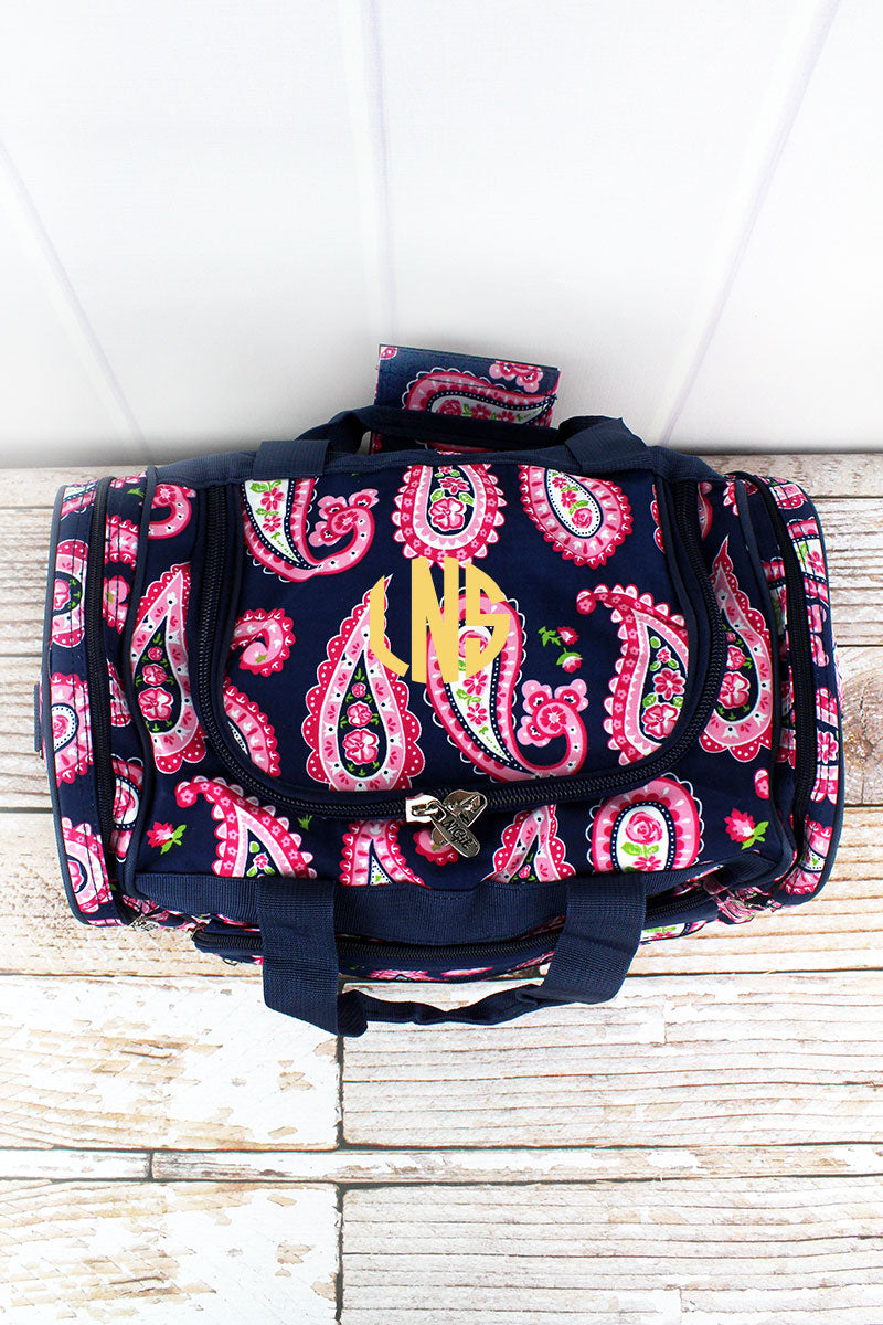 NGIL Paisley Passion Duffle Bag with Navy Trim 17""