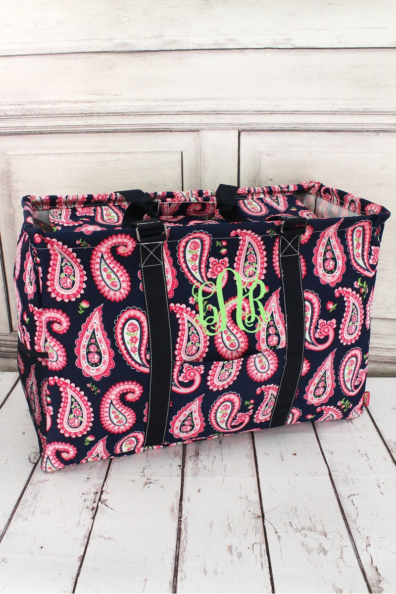 Paisley Passion with Navy Trim Collapsible Double Haul-It-All Basket with Mesh Pockets and Lid #PSN809-NAVY