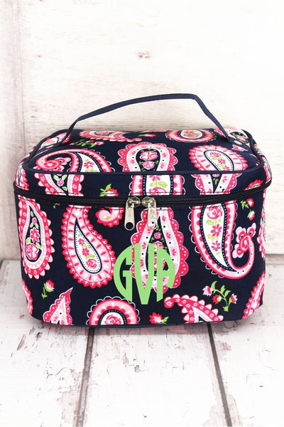 NGIL Paisley Passion Train Case with Navy Trim