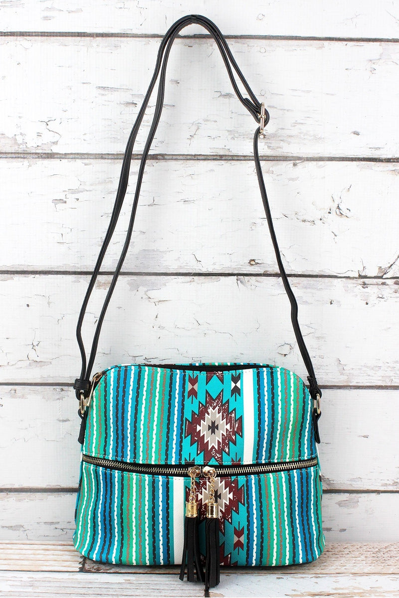 NGIL Adobe Sky Faux Leather Crossbody Tassel Tote