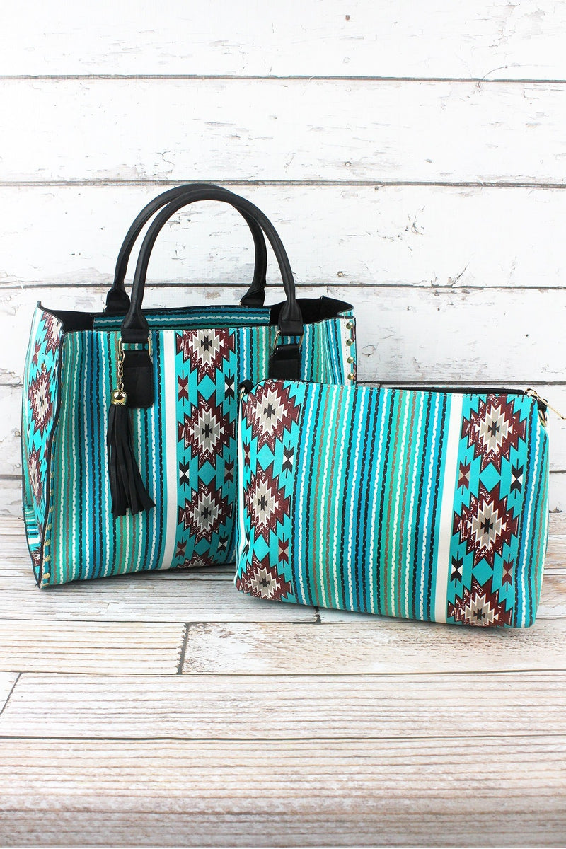 NGIL Adobe Sky Faux Leather Studded 2-in-1 Tassel Tote