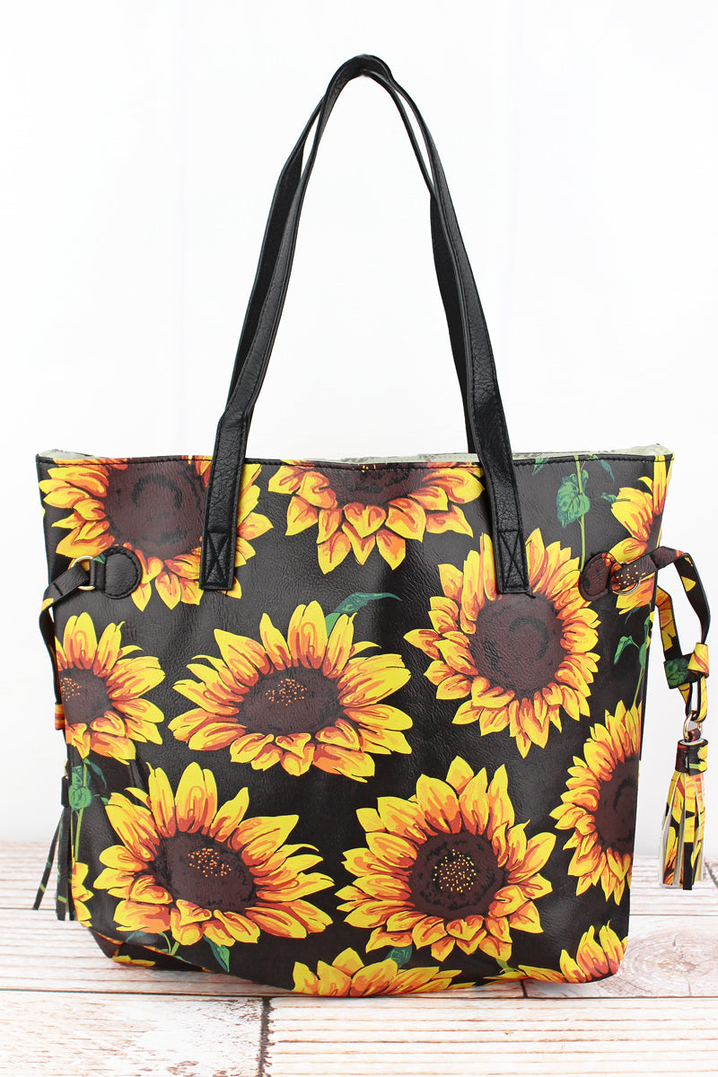 NGIL Sunflower Faux Leather Side Tassel Tote