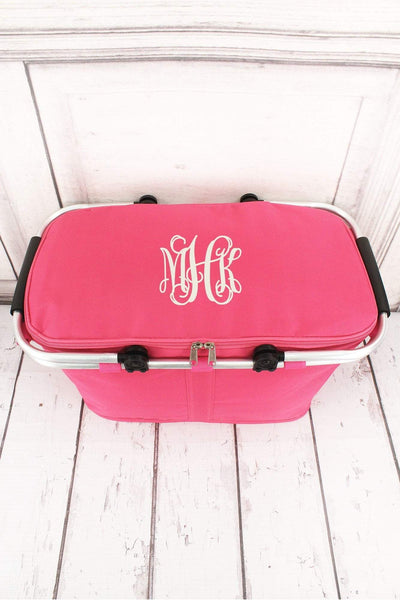 Hot Pink Collapsible Insulated Market Basket with Lid #PT658-H/PINK