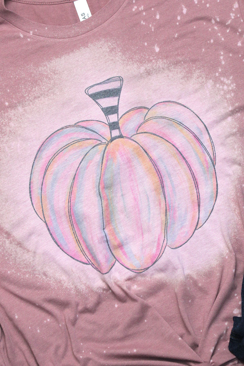 Bleached Watercolor Pumpkin Tri-Blend Short Sleeve Tee