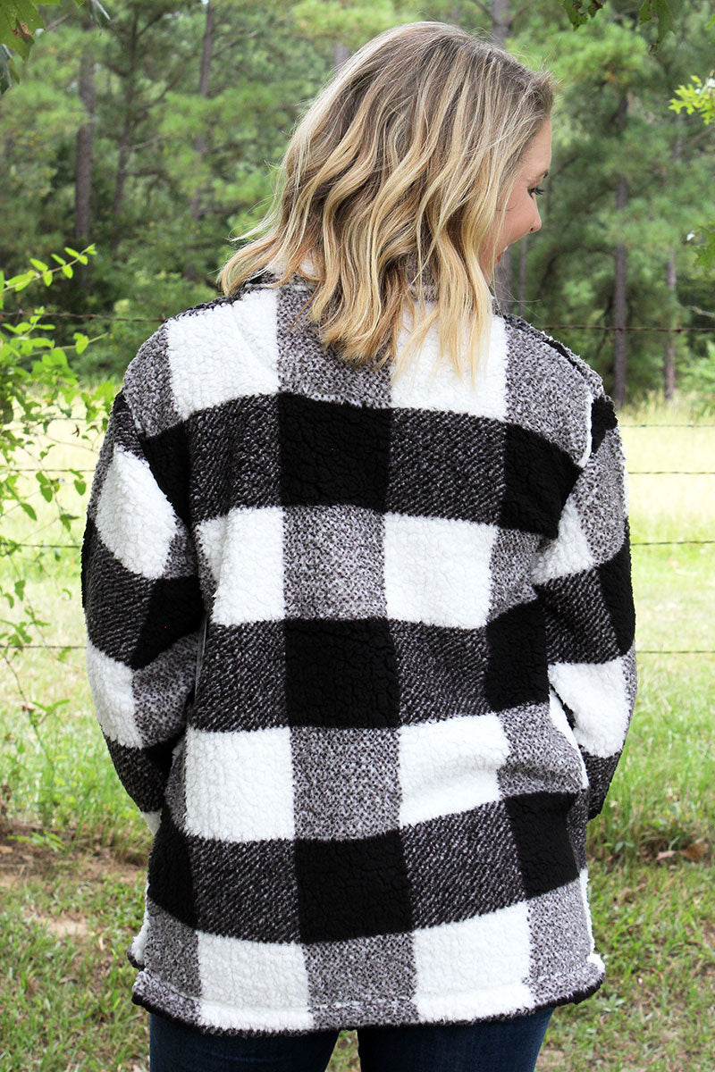 Boxercraft Black and Natural Plaid Sherpa Quarter Zip Pullover