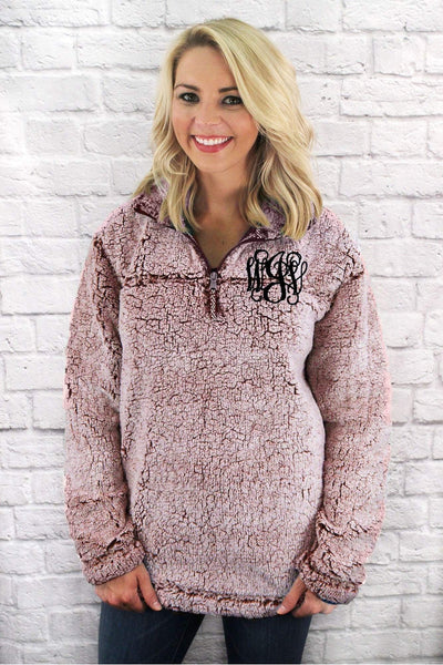 Boxercraft Snowy Garnet Sherpa Pullover *Personalize It