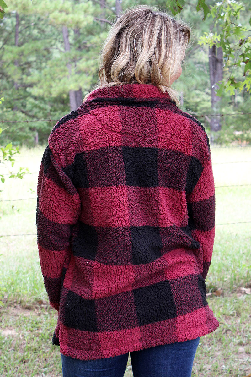 Boxercraft Garnet and Black Plaid Sherpa Quarter Zip Pullover