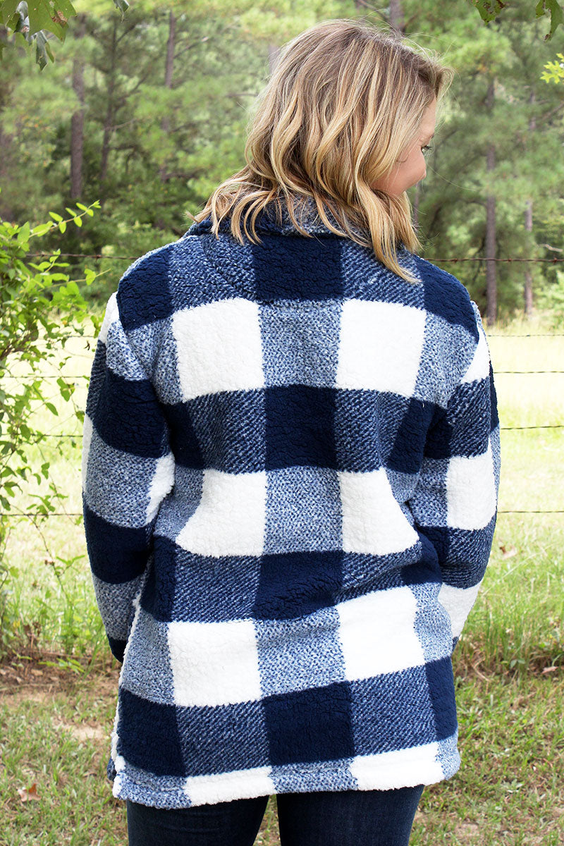 Boxercraft Navy and Natural Plaid Sherpa Quarter Zip Pullover
