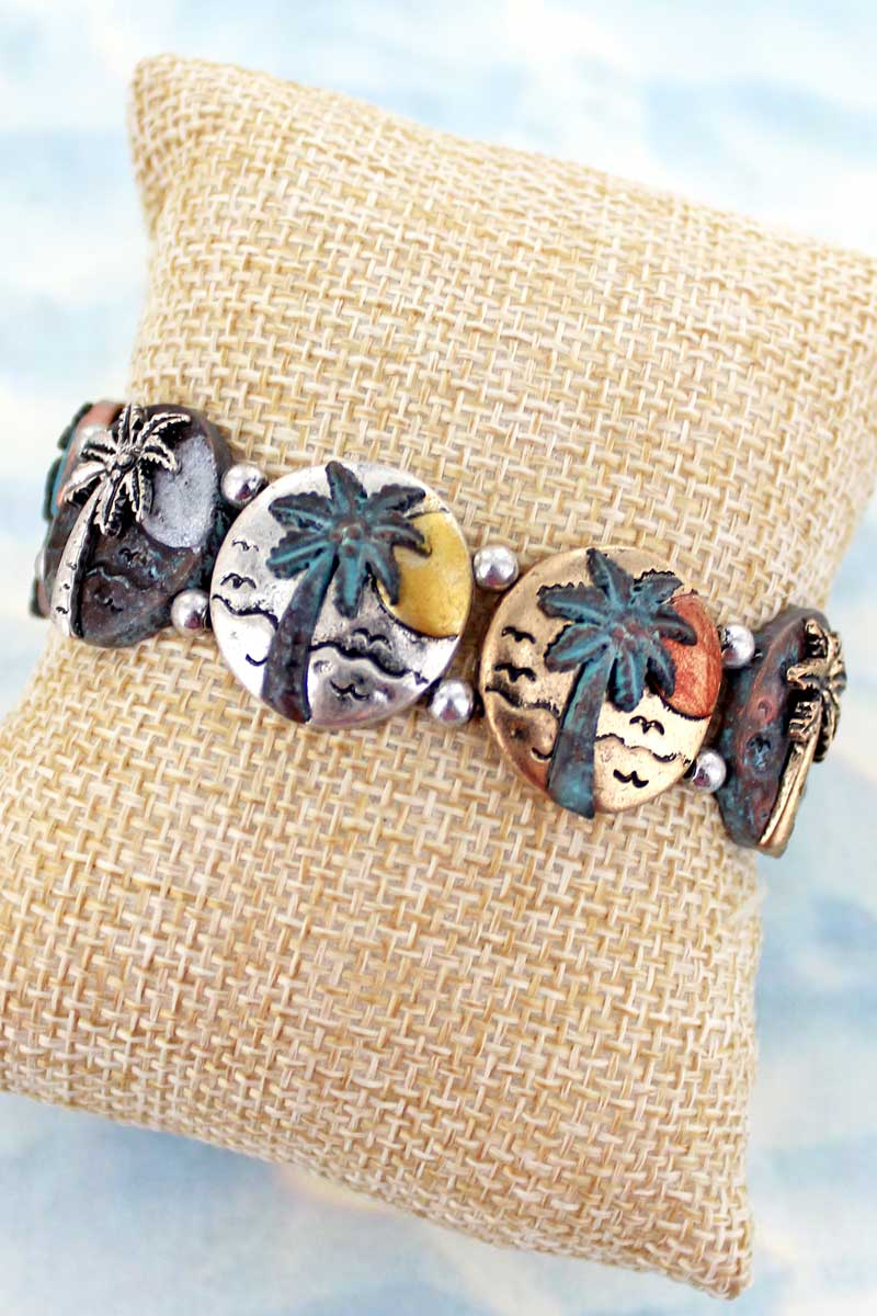 Burnished Tri-Tone and Patina Palm Tree Stretch Bracelet