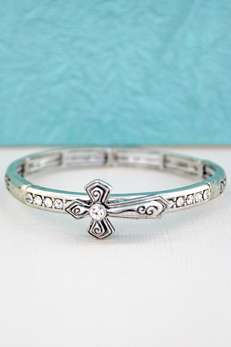 Burnished Silvertone 'Hope Love Dream Trust' Cross Bracelet