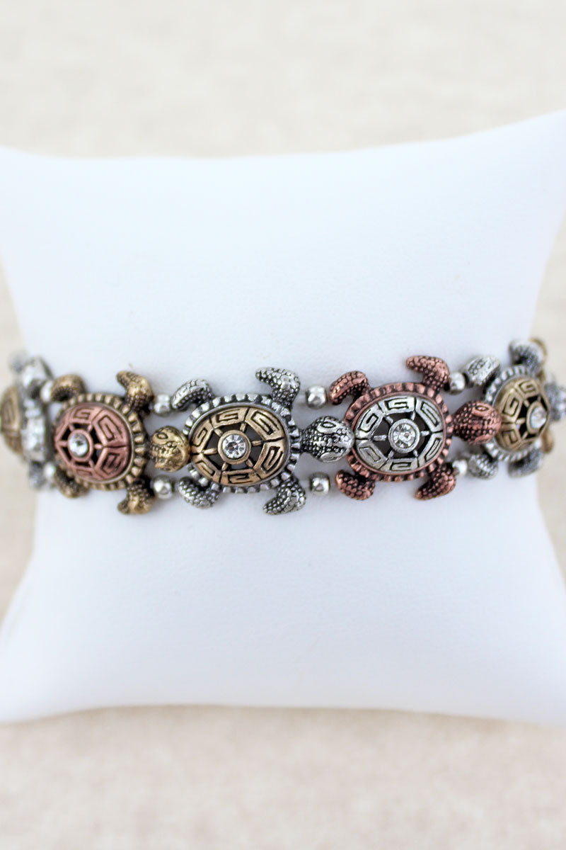 Burnished Tri-Tone Maui Turtle Stretch Bracelet