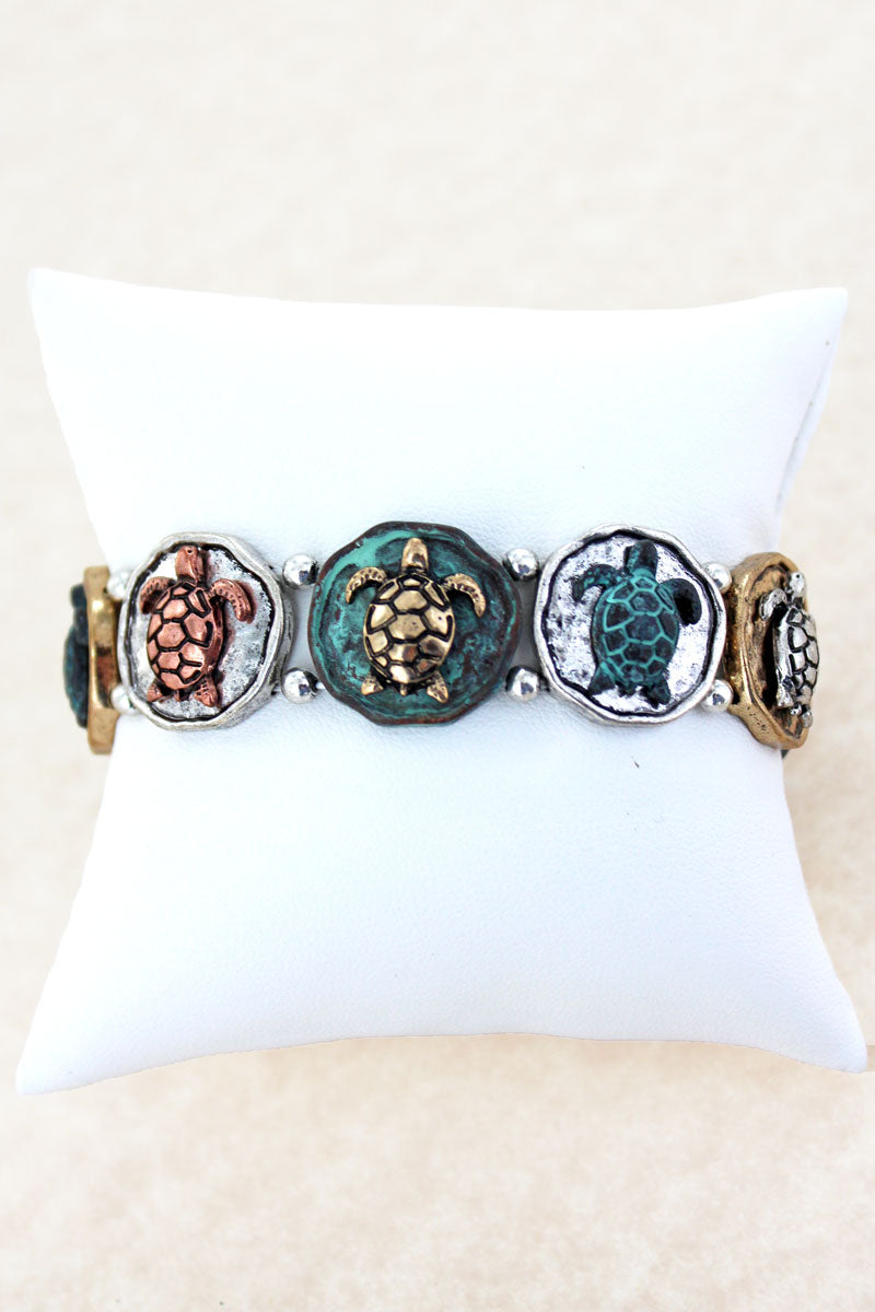 Burnished Tri-Tone and Patina Turtle Disk Stretch Bracelet