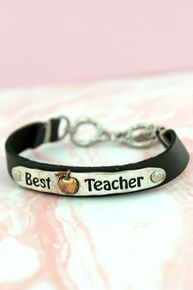 Burnished Silvertone 'Best Teacher' Black Faux Leather Toggle Bracelet