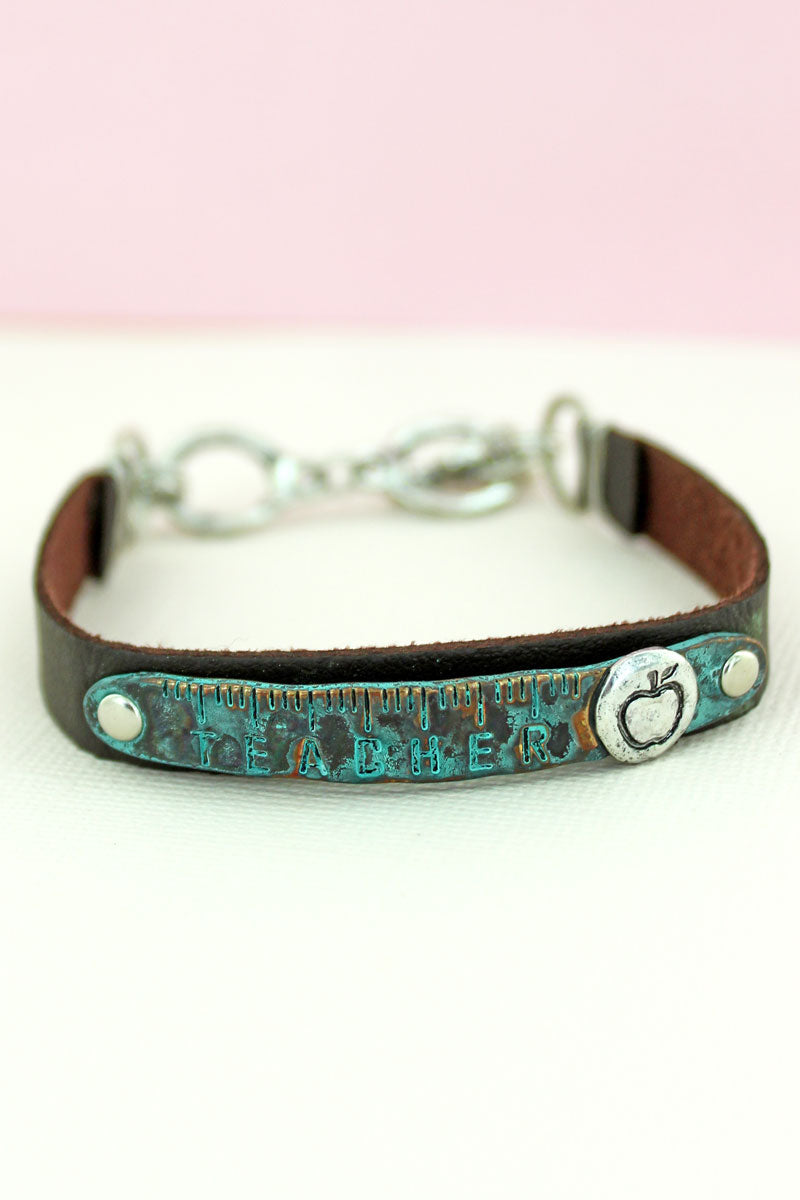 Patina 'Teacher' Brown Faux Leather Toggle Bracelet