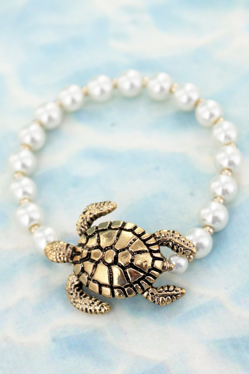 Goldtone Turtle Pearl Stretch Bracelet
