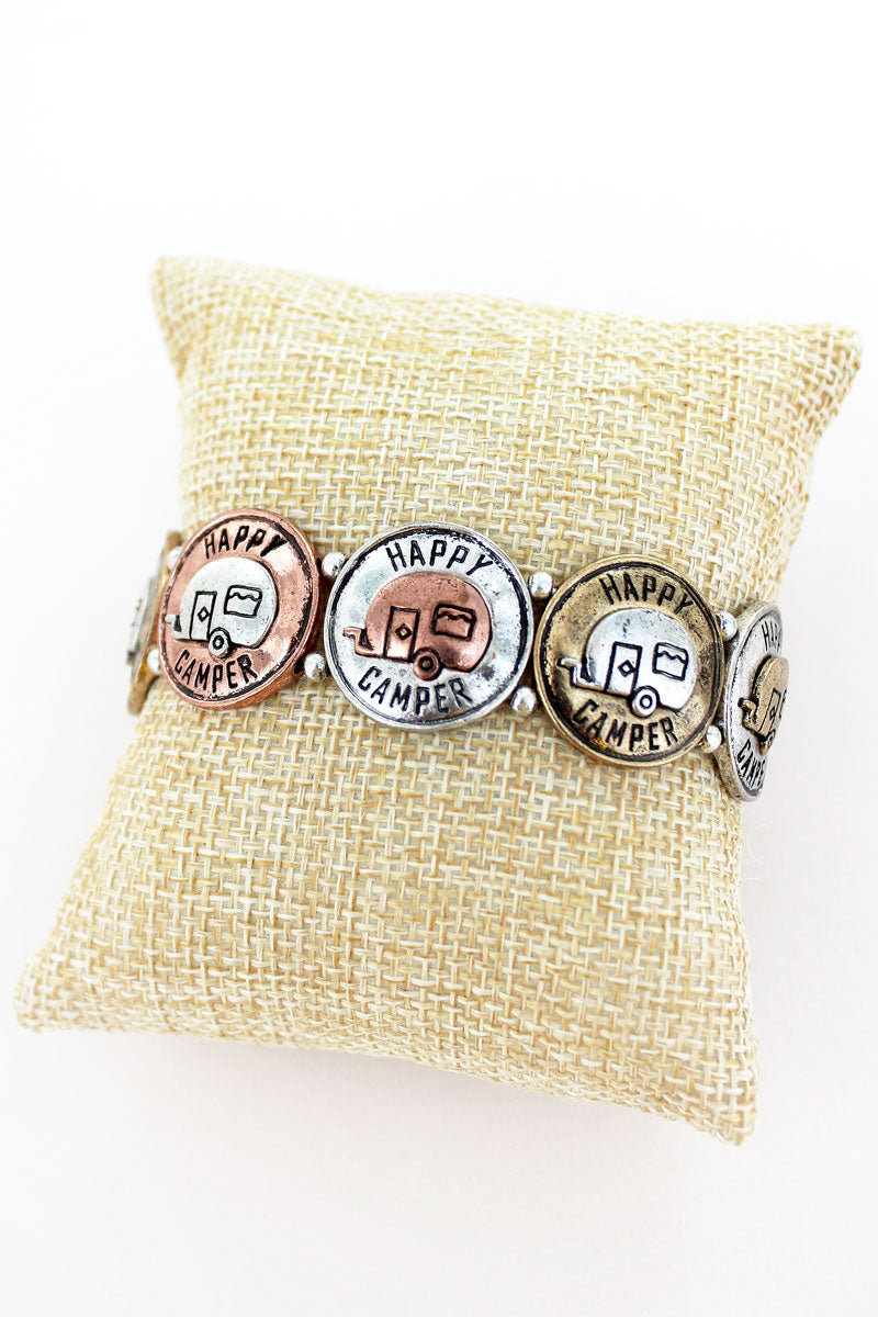 Burnished Tri-Tone Happy Camper Disks Stretch Bracelet