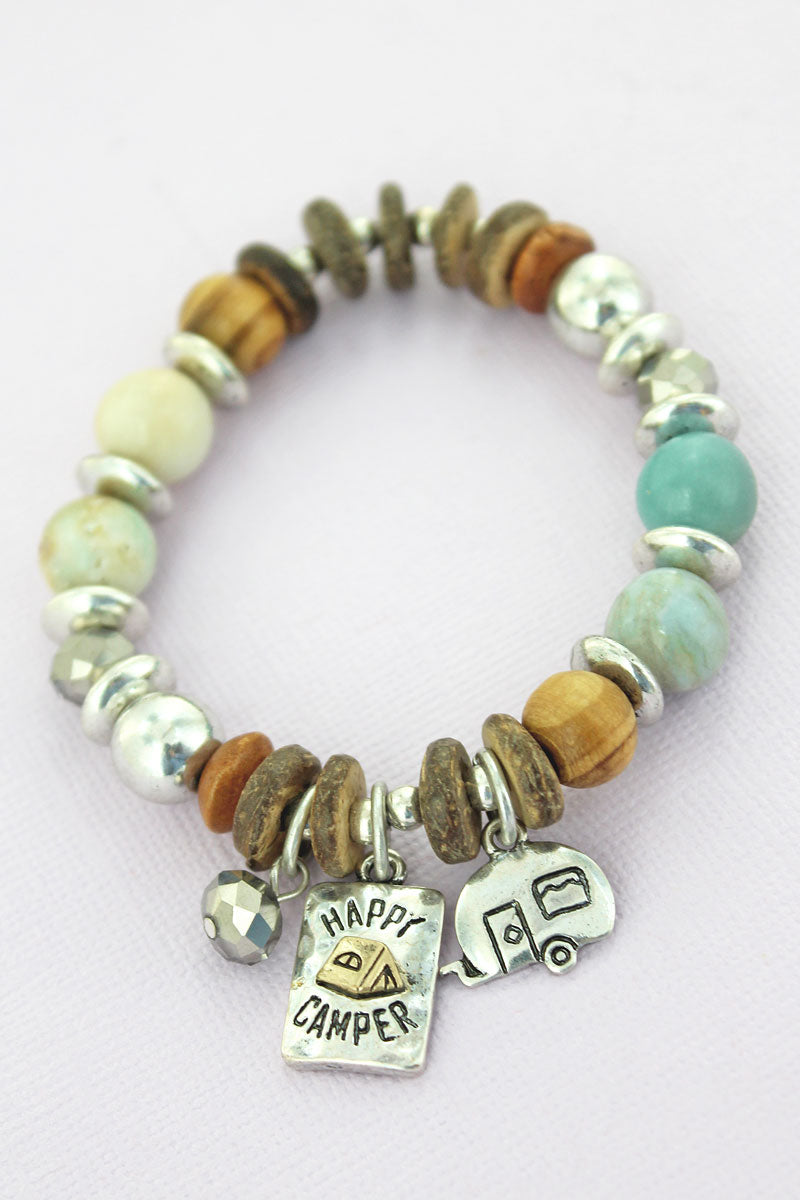 Silvertone 'Happy Camper' Beaded Charm Bracelet