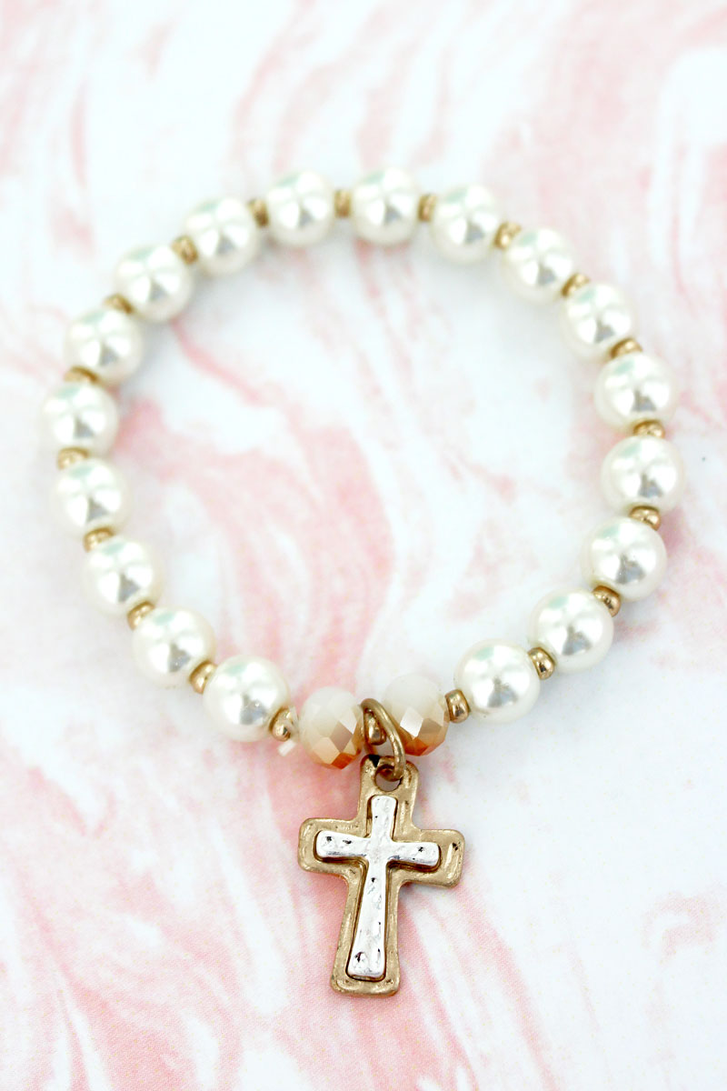 Goldtone and Silvertone Cross Charm Pearl Stretch Bracelet