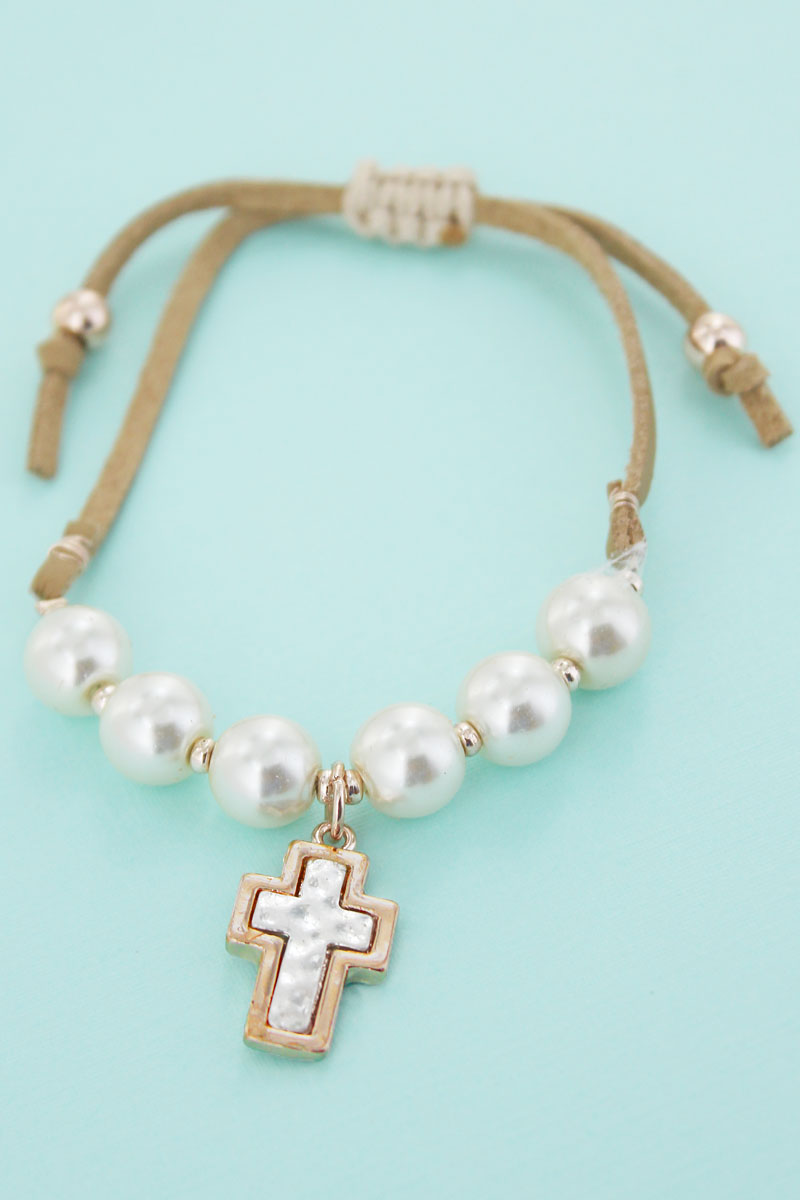 Two-Tone Cross Charm Pearl Adjustable Tan Cord Bracelet
