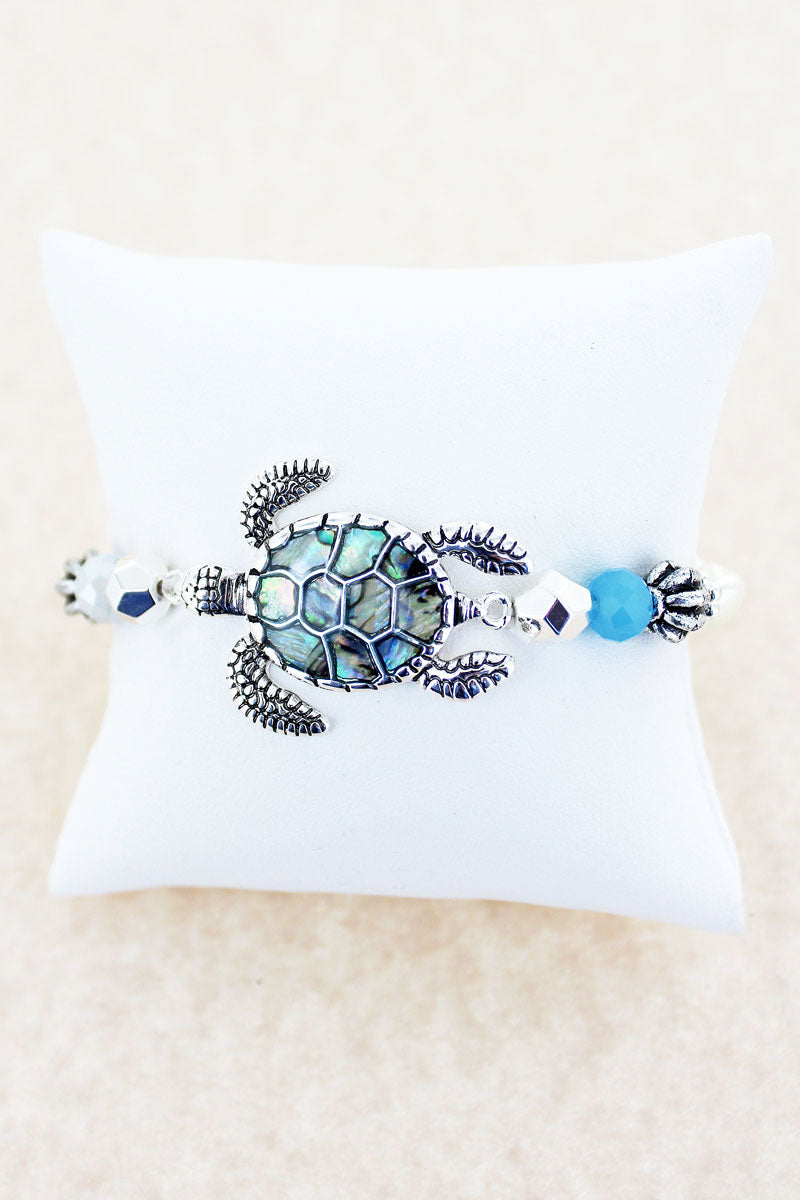 Silvertone and Abalone Turtle Beaded Stretch Bracelet