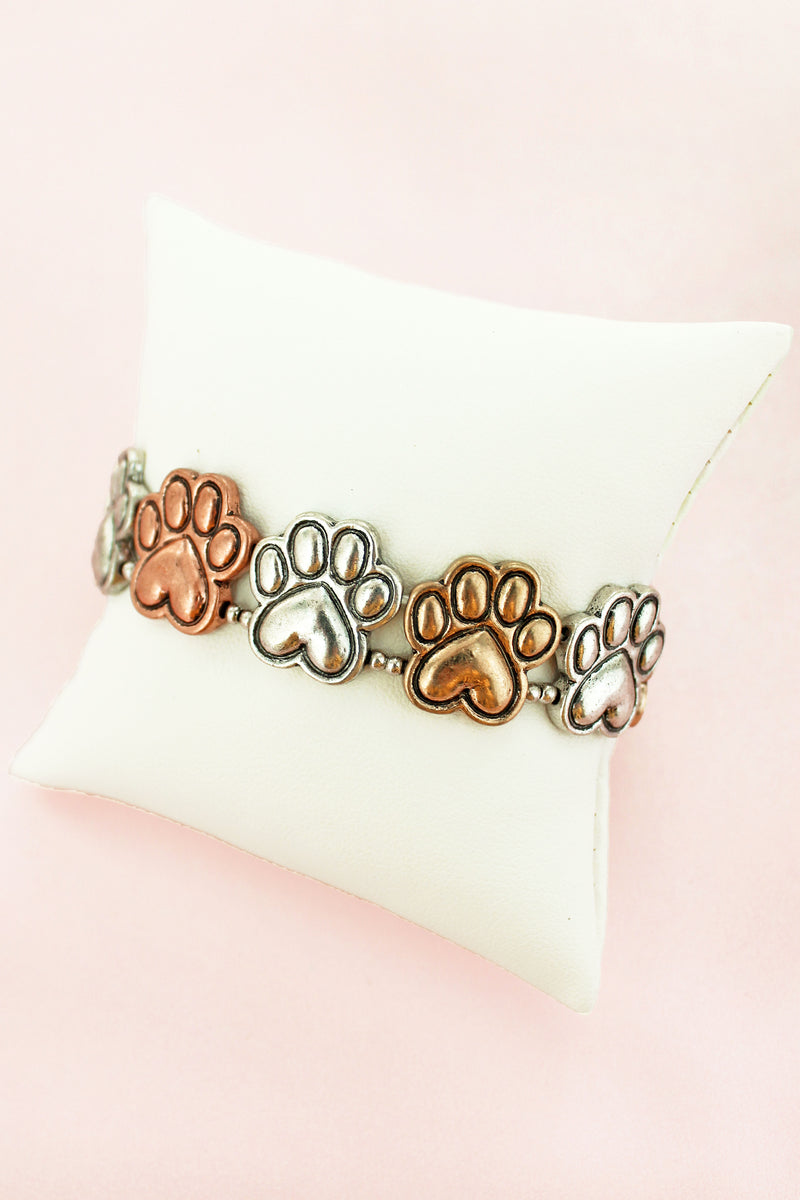Burnished Tri-Tone Paw Print Stretch Bracelet