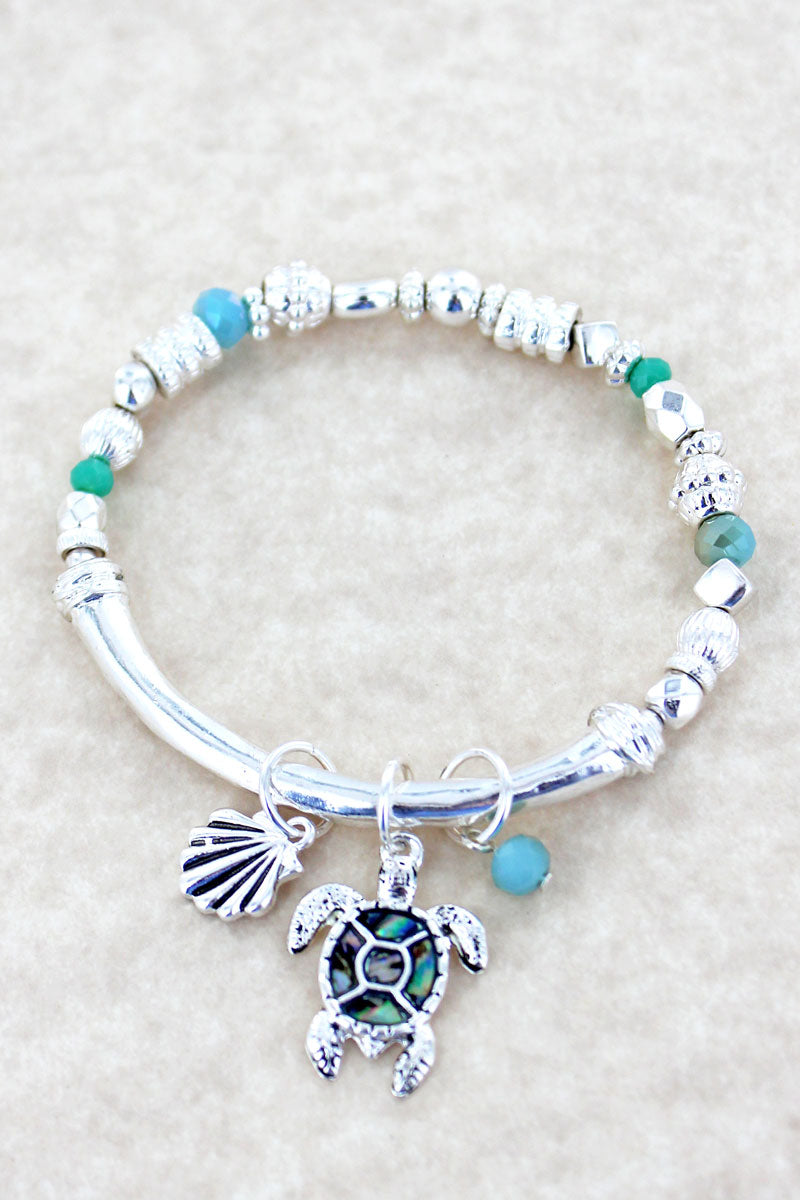 Silvertone with Abalone Turtle Beaded Charm Bracelet