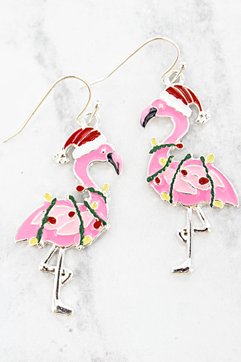 Christmas Flamingo Earrings