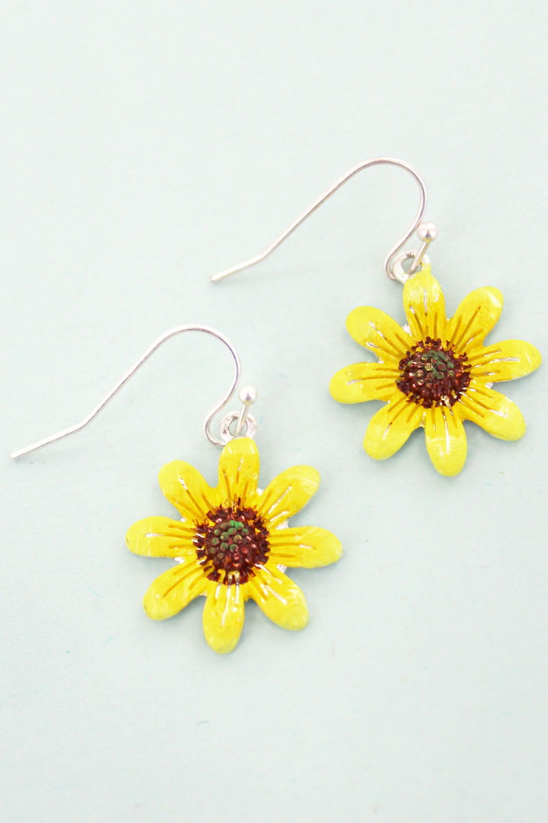 Yellow Sunflower Earrings