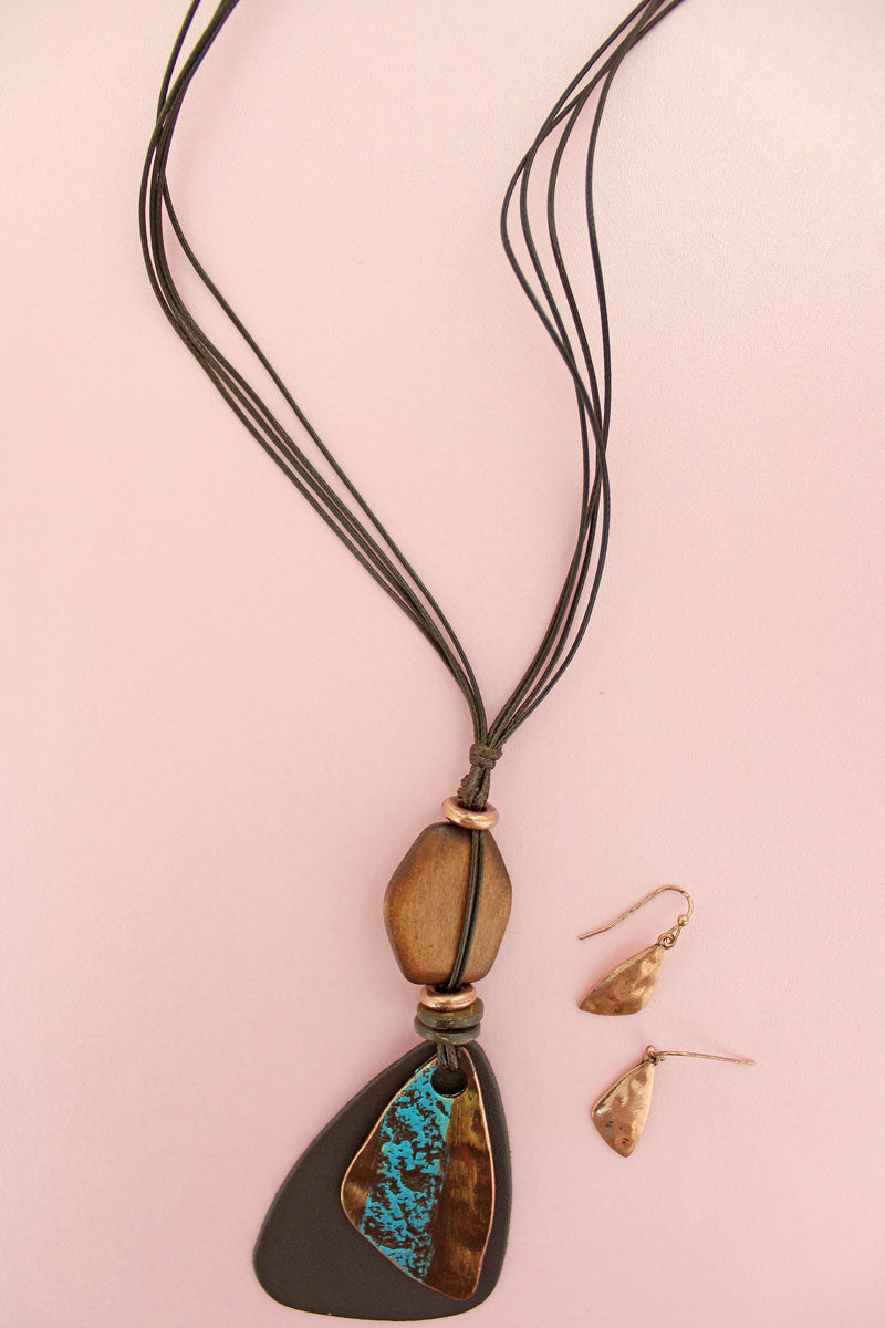 Brown Faux Leather and Patina Geo Pendant Cord Necklace and Earrings Set