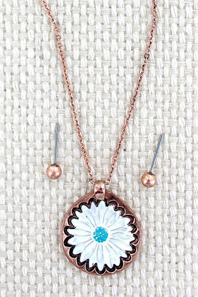 Burnished Coppertone and White Flower Necklace and Earrings Set