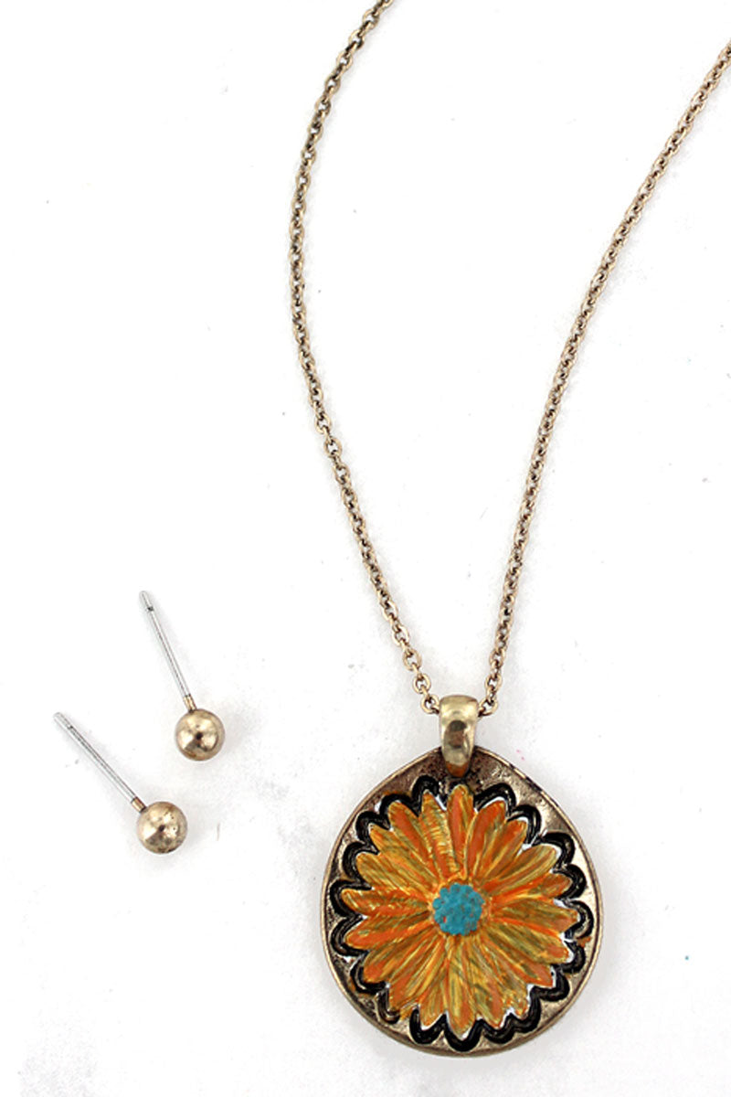 Burnished Goldtone and Orange Flower Necklace and Earrings Set