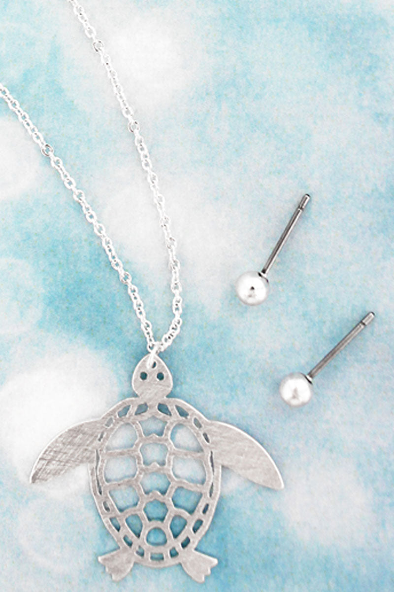 Worn Silvertone Scratched Turtle Necklace and Earrings Set
