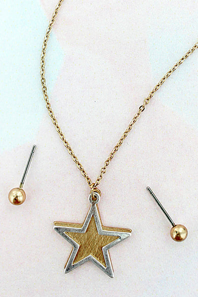 Worn Goldtone Scratched Double Star Necklace and Earrings Set