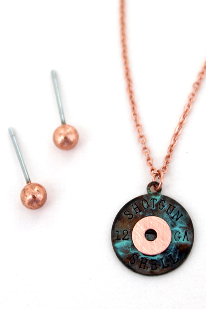 Worn Coppertone and Patina Scratched Shotgun Shell Necklace and Earrings Set