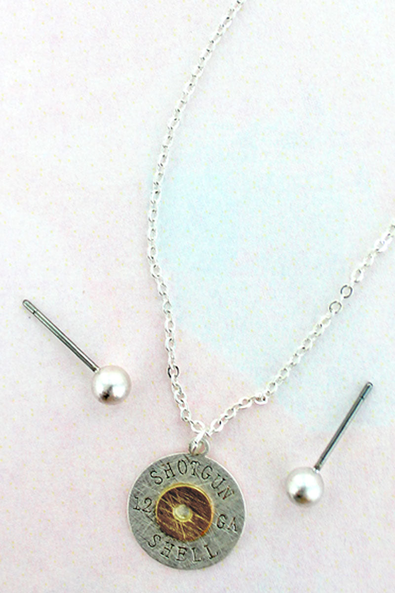 Worn Silvertone Scratched Shotgun Shell Necklace and Earrings Set