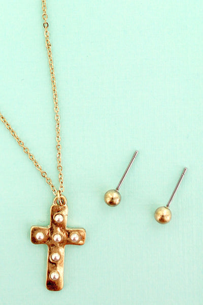 Worn Goldtone Studded Cross Necklace and Earrings Set