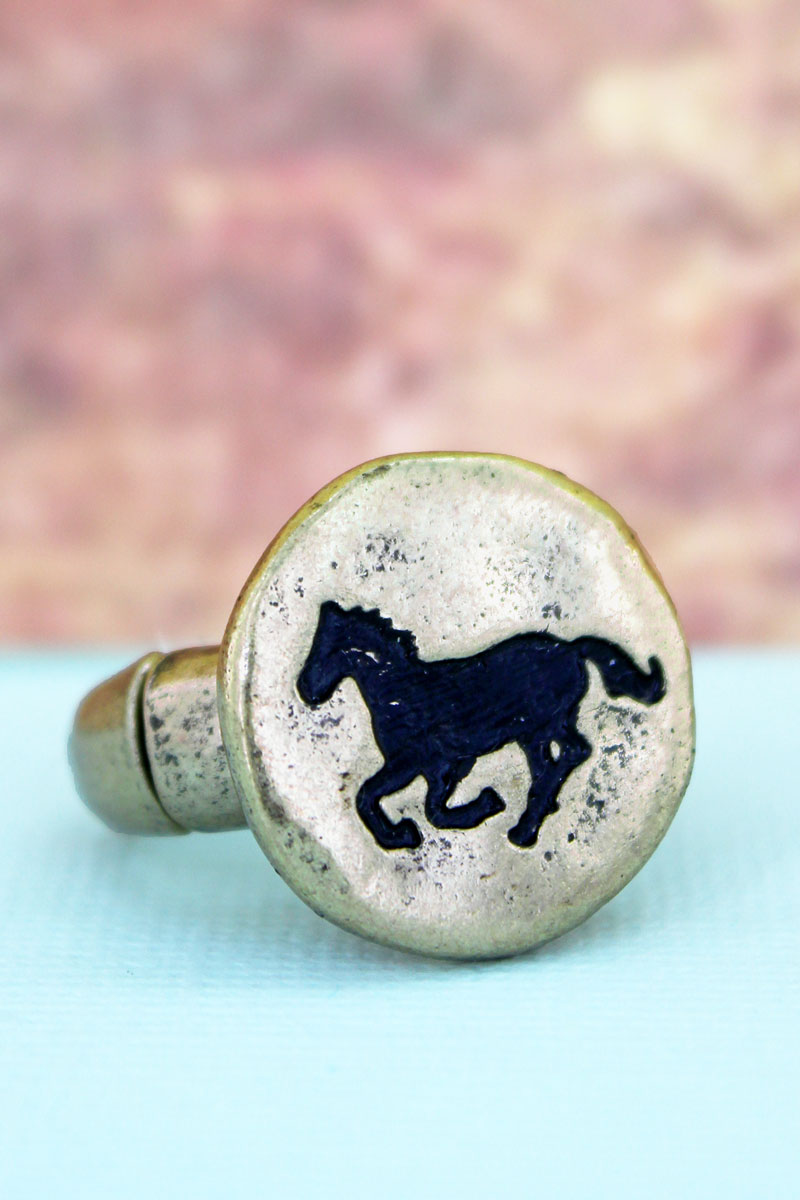 Burnished Goldtone Horse Ring