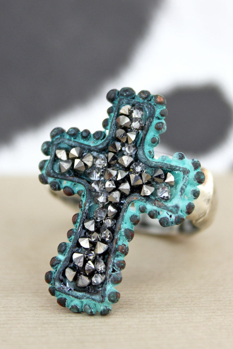 Black Crystal Filled Patina Cross Ring